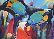 Angelfish Paintings - Swimming With The Queens by Barbara Petersen