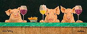 White Wine Paintings - Swine Tasting... by Will Bullas