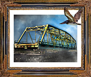 Topsail Island Digital Art Framed Prints - Swing Bridge Framed Print by Betsy A Cutler East Coast Barrier Islands