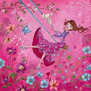Pink Bedroom Paintings - Swing Girl by Caroline Bonne-Muller