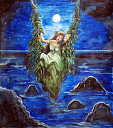 Night Angel Paintings - Swing in Moonlight by Saranya Haridasan