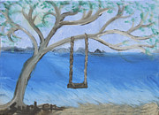 Swing Paintings - Swing in Tree by Suzanne Surber