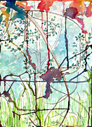 Vines Paintings - Swing uphill abstract by Mukta Gupta