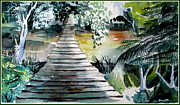 Wildlife Landscape Drawings - Swinging Bridge by Mindy Newman