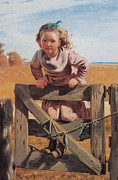 Child Swinging Art - Swinging on a Gate Detail by John Brown