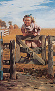 Child Swinging Digital Art - Swinging on a Gate by John Brown
