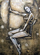 Swing Mixed Media Originals - Swinging With The Moon by Elena Markina