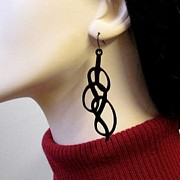 Silhouettes Jewelry - Swirl abstract ornament earrings by Rony Bank
