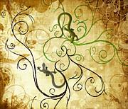 Sassan Filsoof - swirl geckos on vintage paper