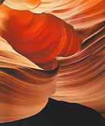 Slot Canyon Painting Framed Prints - Swirling Color Framed Print by Steve Bailey