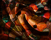 Colored Rocks Posters - Swirling Gemstones Poster by Barbara Griffin
