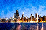 Water Color Digital Art Framed Prints - Swirly Chicago at Night Framed Print by Paul Velgos
