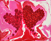 Impasto Sculpture Prints - Swirly Roses Hearts Print by Ruth Collis