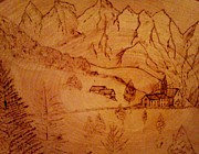 Trees Pyrography Originals - Swiss Hotel by Neil Stuart Coffey