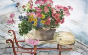 Swiss Painting Originals - Swiss Sled with Flowers by Susan Crossman Buscho