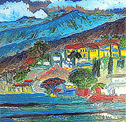 Italian Villas Paintings - Switzerland 10 by Richard W Linford