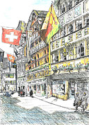 Swiss Drawings - Switzerland by Lisa Pastille