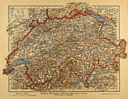Helvetia Framed Prints - Switzerland Map 1900 Framed Print by Georgios Kollidas