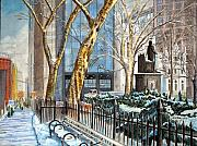 Madison Framed Prints - Sycamores Madison Square Park Framed Print by John W Walker