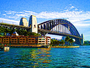 Hyatt Hotel Prints - Sydney Bridge Print by John Derby