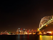 Sydney Skyline Framed Prints - Sydney by Night Framed Print by Justin Woodhouse