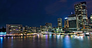 Sydney City Prints - Sydney Cityscape by Night Print by Kaye Menner