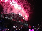 Fireworks Paintings - Sydney Fireworks by Pamela Morris