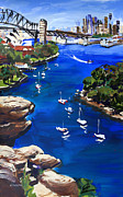 Shirley Paintings - Sydney Harbour Boats by Shirley  Peters