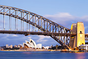 Opera House Framed Prints - Sydney Harbour Bridge and Opera House Framed Print by Colin and Linda McKie