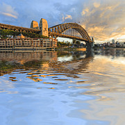 Sydney Harbour Posters - Sydney Harbour Bridge Australia Spectacular Early Morning Light Poster by Colin and Linda McKie