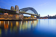 Sydney Harbour Posters - Sydney Harbour Bridge Australia Twilight Poster by Colin and Linda McKie