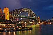 Kaye Menner Photography Framed Prints - Sydney Harbour Bridge by Night Framed Print by Kaye Menner