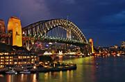 Sydney Harbour Bridge By Night Print by Kaye Menner