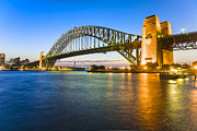 Illuminated Tapestries Textiles - Sydney Harbour Bridge Illuminated at Twilight by Colin and Linda McKie