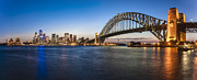 Tourist Destination Posters - Sydney Harbour Evening Panorama Poster by Colin and Linda McKie