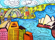 Whimsical Prints - Sydney Harbour  Print by Oiyee  At Oystudio