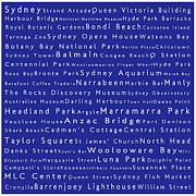 Luna Park Art - Sydney in Words Blue by Sabine Jacobs