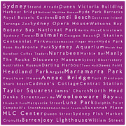 Luna Park Art - Sydney in Words Pink by Sabine Jacobs