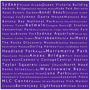 Luna Park Art - Sydney in Words Purple by Sabine Jacobs