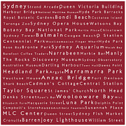 Luna Park Art - Sydney in Words Red by Sabine Jacobs