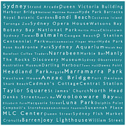 Luna Park Art - Sydney in Words Teal by Sabine Jacobs