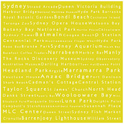 Luna Park Art - Sydney in Words Yellow by Sabine Jacobs
