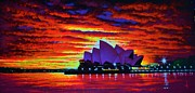 Black Velvet Painting Originals - Sydney Opera House 2 by Thomas Kolendra