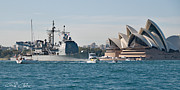 Royal Australian Navy Prints - Sydney Opera House and USS Chosin. Print by Geoff Childs