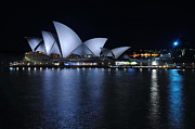 Sydney City Prints - Sydney Opera House by Night Print by Kaye Menner