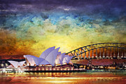 Opera Painting Prints - Sydney Opera House Print by Catf