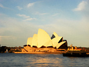 Opera-house Prints - Sydney Opera House painting Print by Pixel Chimp