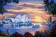 Adult Male Posters - Sydney Opera House Poster by Steve Crisp