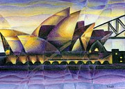 Architecture Drawings Prints - Sydney Opera House Print by Tiffany Budd