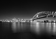 Sydney Skyline Posters - Sydney skyline and Harbor bridge Poster by Jorgen Opsann